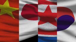 China Japan North and South Korea Waving Flags Footage