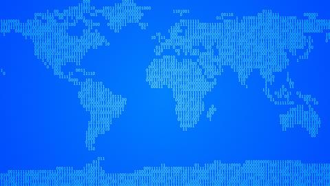 Binary World Map, Scroll - Dark Blue Animation