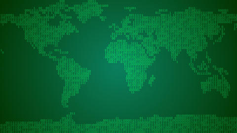 Binary World Map, Scroll - Dark Green CG動画素材
