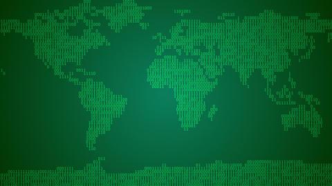 Binary World Map, Scroll - Dark Green Animation