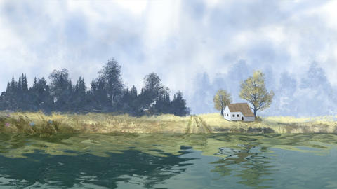Landscape with tree, house and river, digital painting Animation