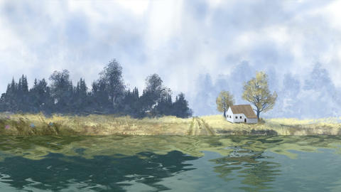 Landscape with tree, house and river, digital painting Stock Video Footage