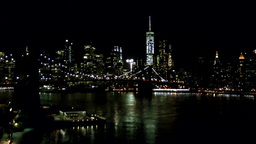 New York City 577 Manhattan Skyline and Brooklyn Bridge at night Footage