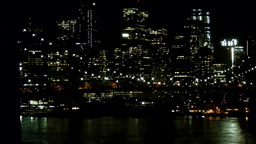 New York City 578 Manhattan Skyline at night seen from East River Footage
