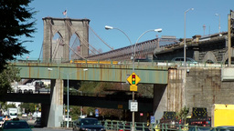 New York City 580 traffic on Brooklyn Bridge at east riverside Footage
