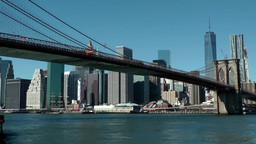 New York City 582 Brooklyn Bridge with Manhattan Skyline Footage