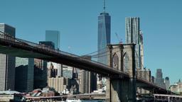 New York City 583 Brooklyn Bridge with Manhattan cityscape Footage