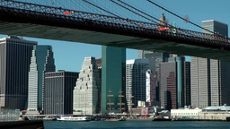 New York City 584 Manhattan south seaport behind Brooklyn Bridge Footage