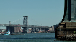 New York City 589 East River Williamsburg Bridge and pylon of Manhattan Bridge Footage