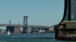 New York City 589 East River Williamsburg Bridge and pylon of Manhattan Bridge Footage