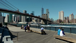 New York City 591 Brooklyn Bridge with Manhattan city view Footage