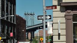 New York City 595 Manhattan Bridge between buildings of Brooklyn Footage