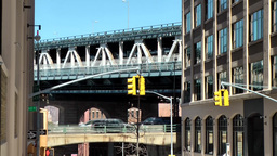 New York City 598 Manhattan Bridge and traffic junction in Brooklyn Footage