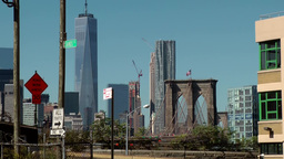 New York City 599 Manhattan downtown Beekman tower & One WTC from Brooklyn Footage