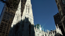 New York City 561 pan up the towers of St. Patrick's Cathedral Footage