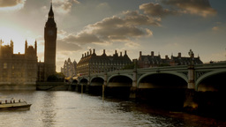 Thames river boat passes under Westminster Bridge as the... Stock Video Footage
