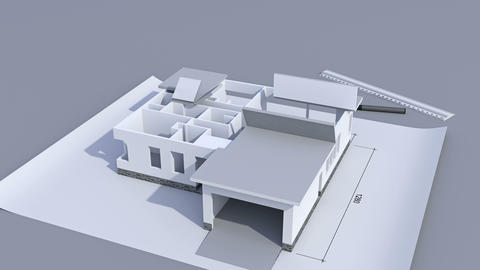 Building a house with a hip roof. Time-lapse 3d animation... Stock Video Footage