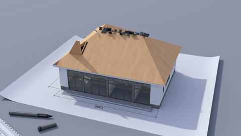Building a house with a hip roof. Time-lapse 3d animation of house construction Animation