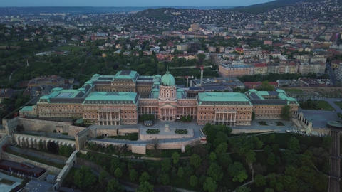 Budapest, Hungary - Aerial view of Buda Castle Royal Palace at dawn Footage