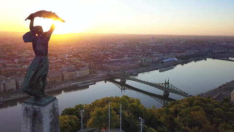 Aerial view of Statue of Liberty, Liberty Bridge and skyline of Budapest Footage