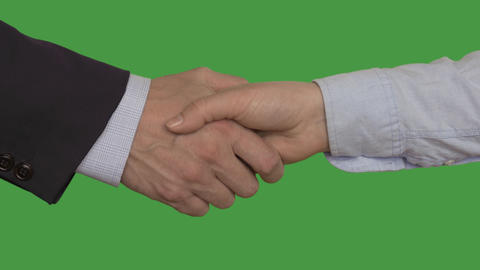 Businesswoman and businessman shaking hands after deal, keyed green screen Footage