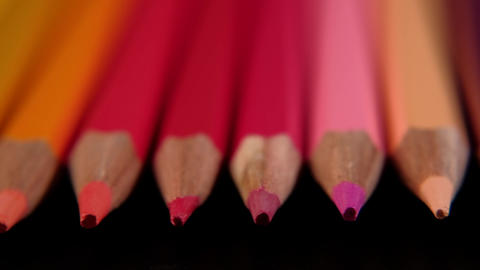Colored pencils. Close up trucking shot. Shallow depth of field Live Action