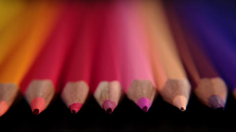 Colored pencils. Close up trucking shot. Shallow depth of field. 4K resolution Live Action