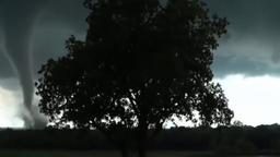 huge tornado blows everything in the field, category F4 Footage