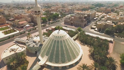 Exterior view of a mosque in Kuwait (aerial photography) Footage