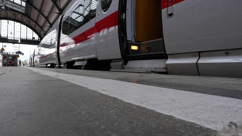 German highspeed ICE train is leaving main station Wiesbaden Live Action