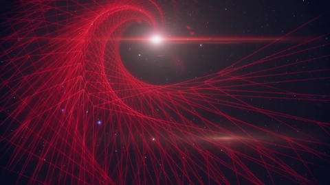 3D Red Wireframe Spiral Grid in Outer Space Loopable Background Animation