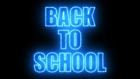 Burning Back to school text on black, 3d render background, computer generating Footage