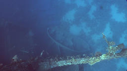 Boat on seabed near Salem Express shipwrecks underwater in Red Sea in Egypt Footage