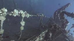 Deck of sunken ship Salem Express shipwrecks underwater on seabed in Red Sea Footage