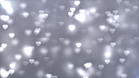 white gray Romantic Spinning Dangling Glowing Love Hearts colored Particles Animation
