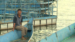 Male Chinese on boats and Vessel in river of province Footage