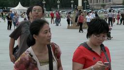 People walk on street city of Tiananmen Square Footage