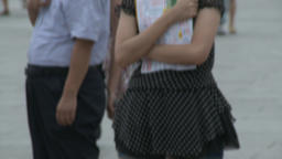 Girl on street city of Tiananmen Square Footage
