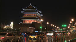 Traffic of car bus and people from blazing lanterns streets of Night Beijing Footage