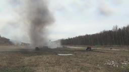 Stunt girl in a fiery explosion Footage