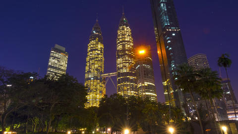 Morning in the Park near Petronas Twin Towers. Time Lapse Footage