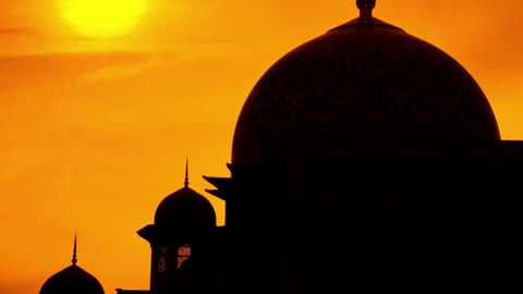 Mosque in sunset Footage