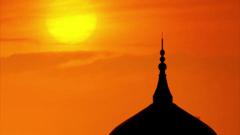 Silhouette of a mosque Footage