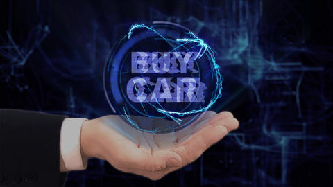 Painted hand shows concept hologram Buy car on his hand Footage