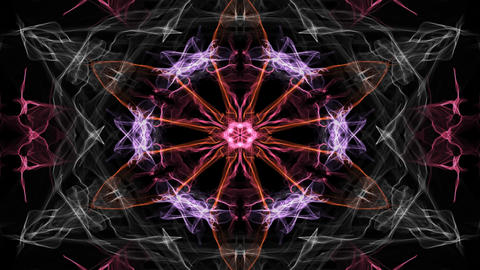 Glowing live mandala multicolored on black background, for spiritual exercises Animation
