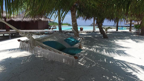 hammock at hotel resort on tropical beach Footage