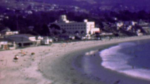 1958: Hotel resort beach wealthy coastline housing suave quaint Footage
