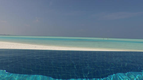 swimming pool with fresh water on maldives beach Footage