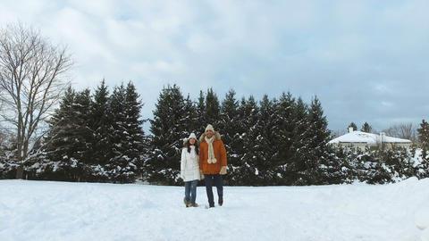 happy couple walking along snowy winter field Footage