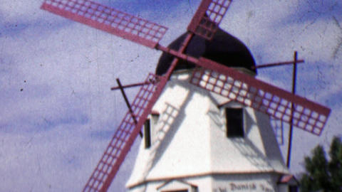 1962: Solvang Danish Inn Dutch style windmill Footage